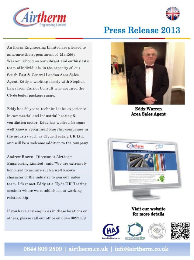 0844 809 2509 | airtherm.co.uk | info@airtherm.co.uk Press Release 2013 Eddy Warren Area Sales Agent Airtherm Engineering ...