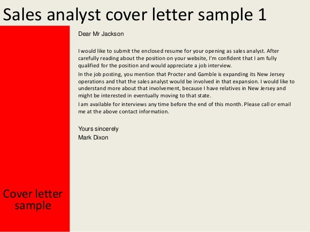 sales analyst cover letter sample - Sales Cover Letter Template