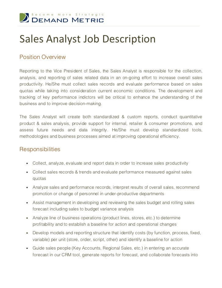sales analyst description