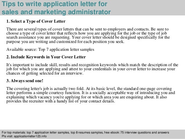 Sales And Marketing Administrator Application Letter