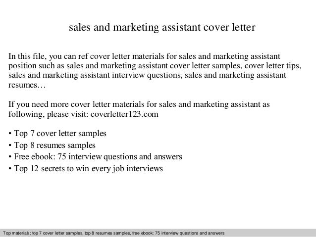 Sales And Marketing Assistant Cover Letter In This File You Can Ref Materials