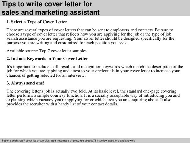 Sales And Marketing Assistant Cover Letter
