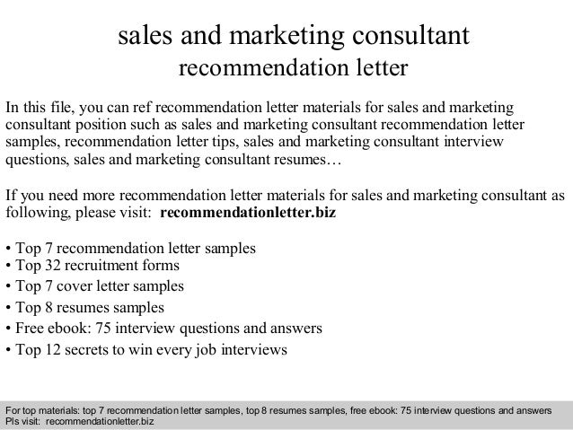 sales and marketing consultant recommendation letter