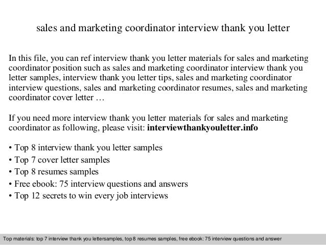 sales and marketing coordinator interview thank you letter in this file you can ref interview - Marketing Coordinator Interview Questions And Answers