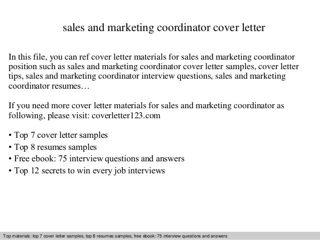 Cover Letter Sales And Marketing Coordinator