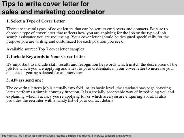 Cover Letter For Marketing Coordinator Sample Cover Letter
