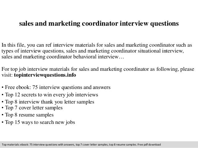 Sales And Marketing Coordinator Interview Questions In This File, You Can  Ref Interview Materials For ...