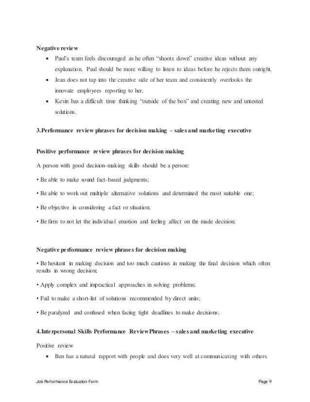 sales evaluation form templates