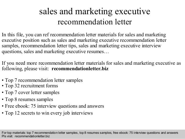 executive letter of recommendation sample