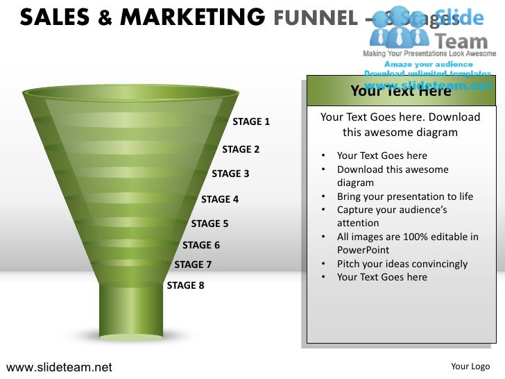 SALES & MARKETING FUNNEL – 8 Stages                                                  Your Text Here                       ...