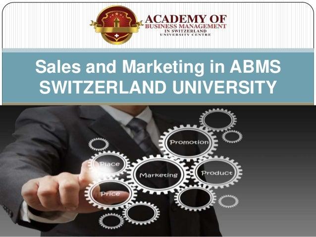 Sales and Marketing in ABMS SWITZERLAND UNIVERSITY