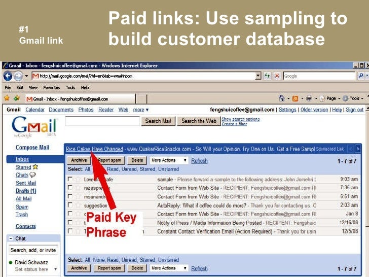 Paid links: Use sampling to build customer database #1 Gmail link