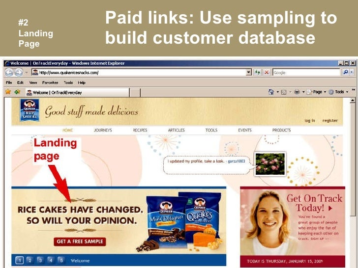 Paid links: Use sampling to build customer database #2 Landing Page