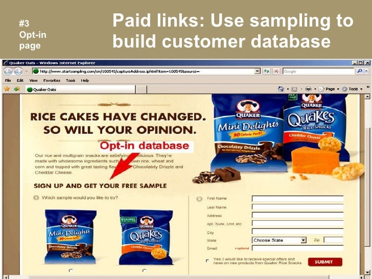 Paid links: Use sampling to build customer database #3 Opt-in page