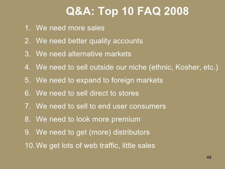 Q&A: Top 10 FAQ 2008 <ul><li>We need more sales </li></ul><ul><li>We need better quality accounts </li></ul><ul><li>We nee...