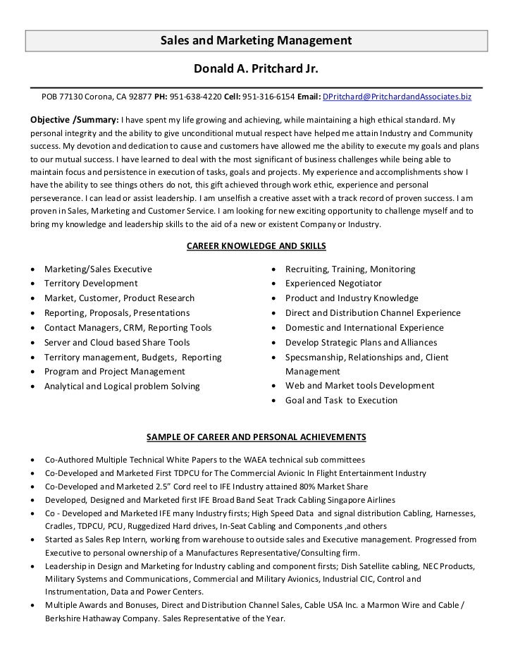 Delightful Sales And Marketing Management Donald ...  Sales Marketing Resume