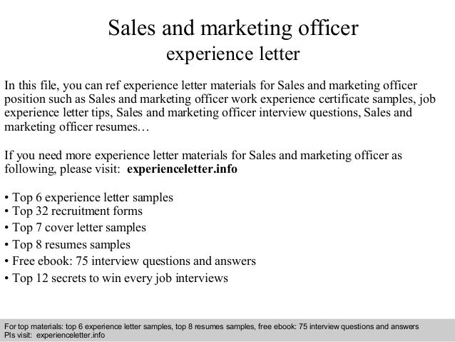 sales and marketing officer experience letter interview questions and answers free download pdf and ppt file sales and marketing officer