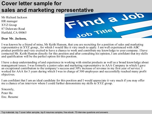 Sales and marketing representative cover letter cover letter sample for sales and marketing spiritdancerdesigns Image collections