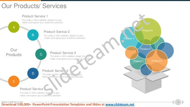 WWW.COMPANY.COM 18 Product/ Service 1 This slide is 100% editable. Adapt it to your needs and capture your audience's atte...
