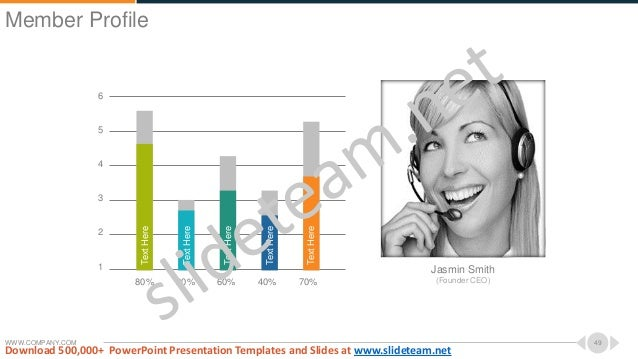 WWW.COMPANY.COM 49 6 5 4 3 2 1 80% 20% 60% 40% 70% TextHere TextHere TextHere TextHere TextHere Jasmin Smith (Founder CEO)...