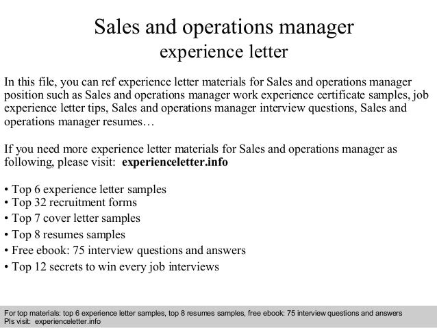 sales and operations manager experience letter