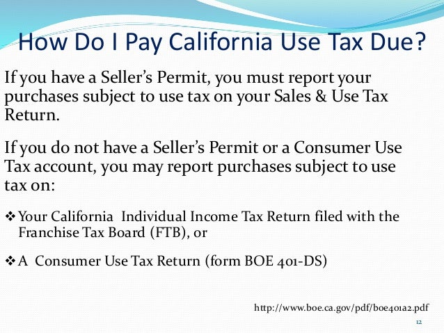 Sales and Use Tax Information from BOE