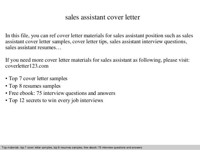 Sales Assistant Cover Letter In This File, You Can Ref Cover Letter  Materials For Sales ...  Cover Letter Sales