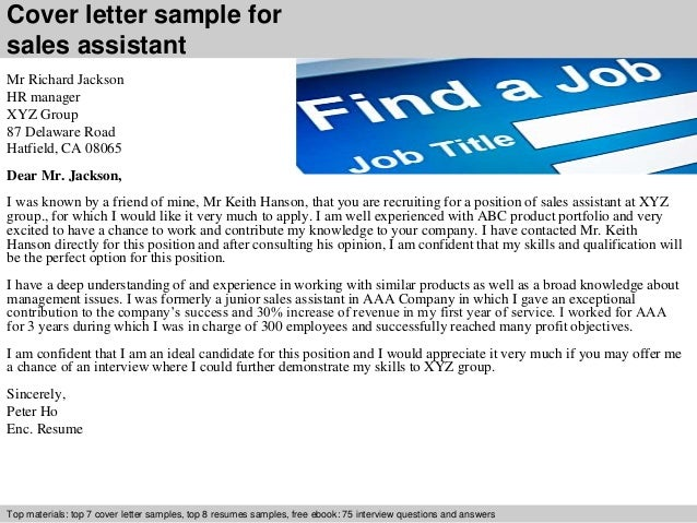 Sales assistant cover letter – Sample Cover Letter Sales Assistant