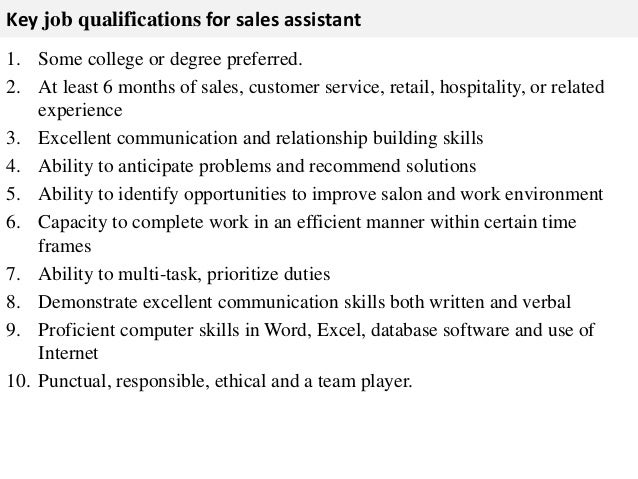 Sales Assistant Job Description  Ex