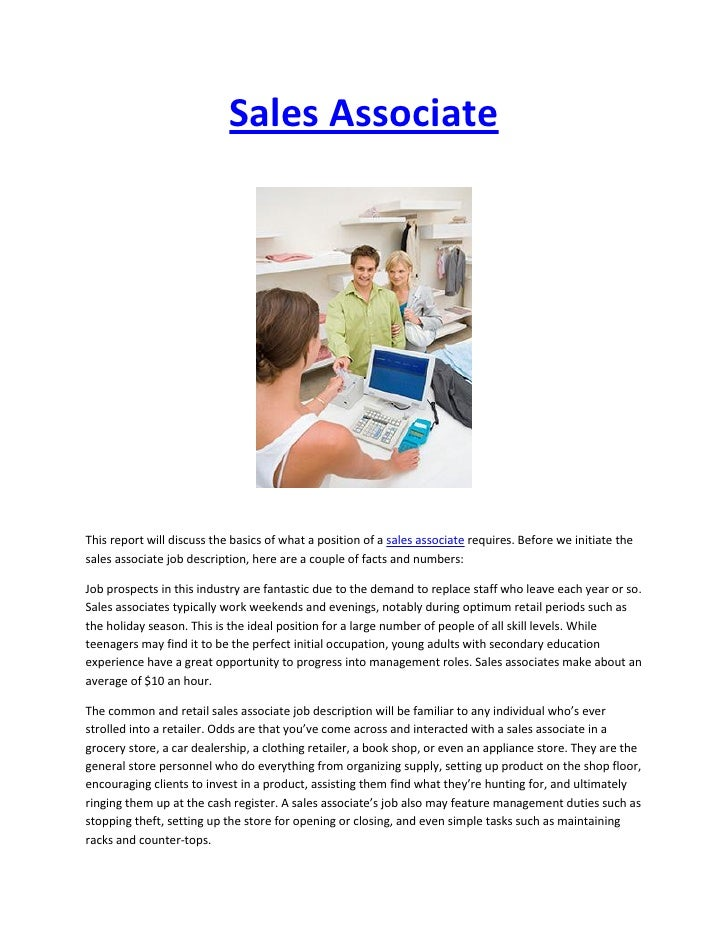Duties of a sales associate in a clothing store