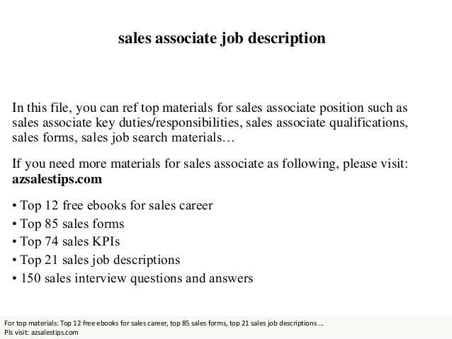 Sales Associate Qualifications  Description Of Sales Associate