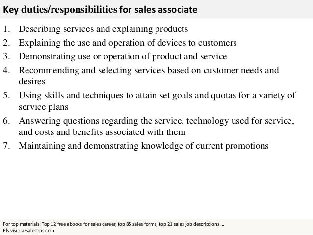 Responsibility Of A Sales Associate  Template
