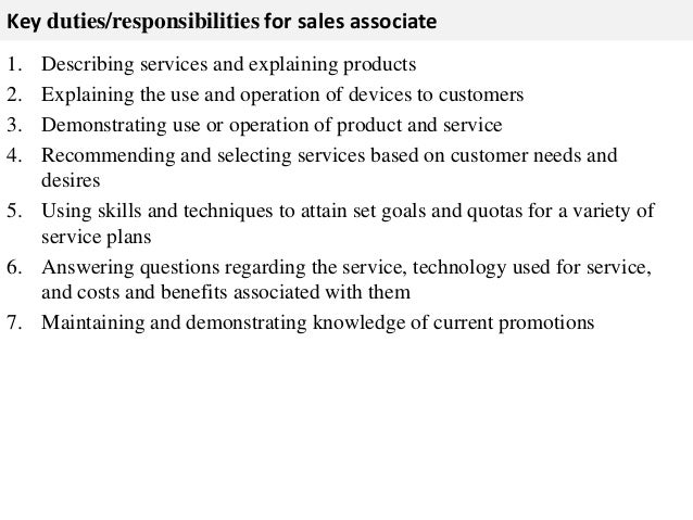 Perfect ... 2. Key Duties/responsibilities For Sales Associate ...  Description Of Sales Associate