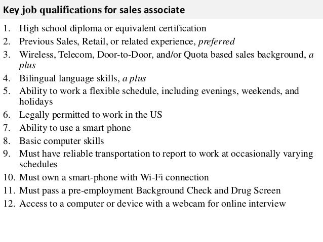 qualifications for retail sales associate
