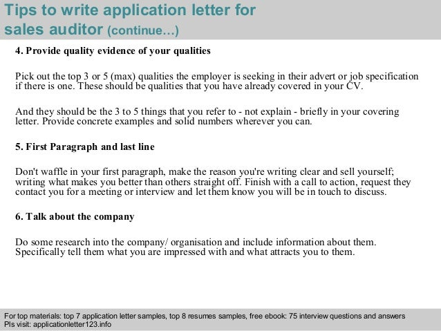 ... 4. Tips To Write Application Letter For Sales Auditor ...