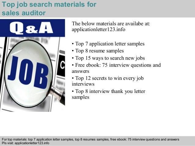 Sales auditor application letter