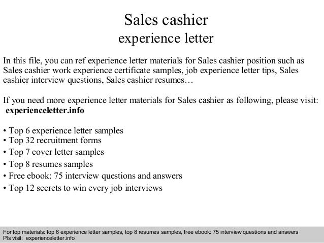 Sales Cashier Experience Letter In This File, You Can Ref Experience Letter  Materials For Sales Experience Letter Sample ...