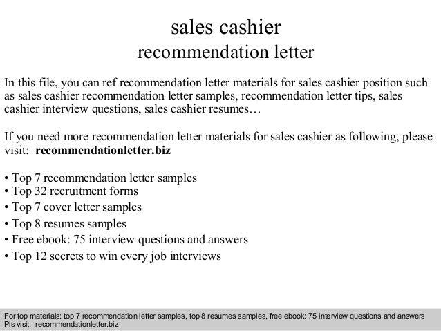 sales cashier recommendation letter