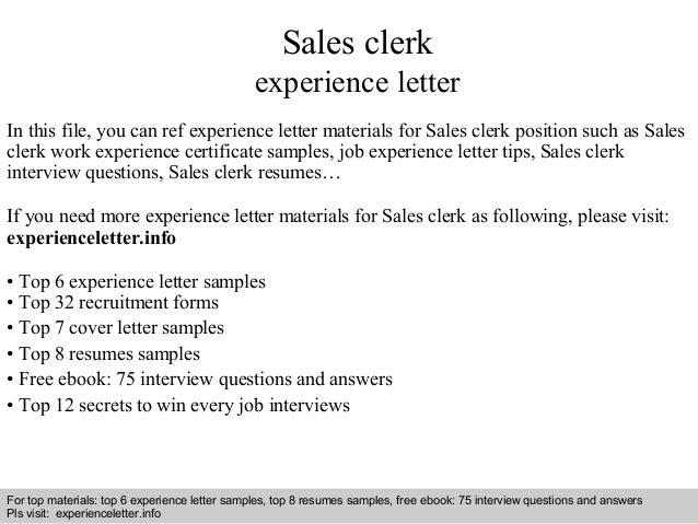 Sales Clerk Experience Letter In This File, You Can Ref Experience Letter  Materials For Sales ...  Sales Clerk Resume