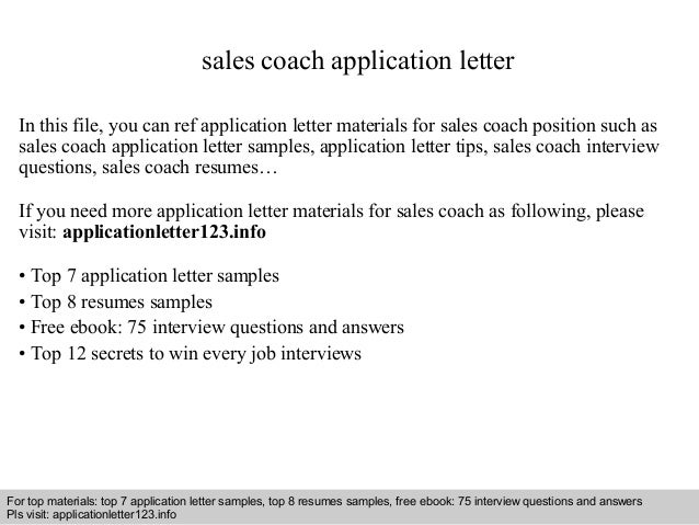 Sample Resume For Coaching Position Sales Coach Application Letter