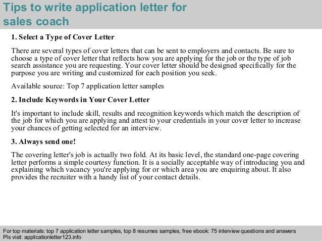 Sales coach application letter