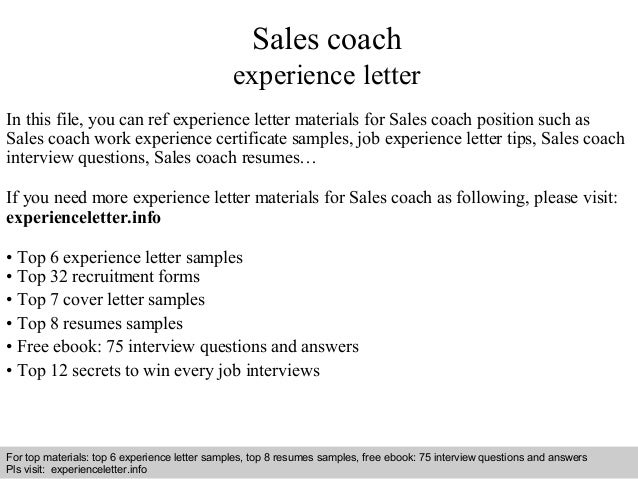 Sales coach experience letter