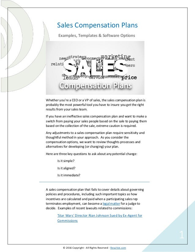 Sales Compensation Plans Examples Templates Software Options