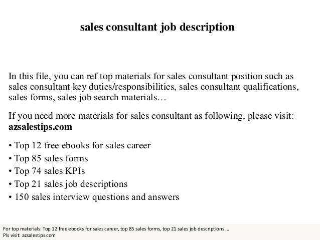 Elegant Sales Consultant Job Description