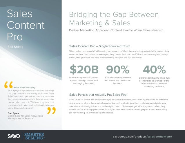 Sales Content Pro Sell Sheet  Bridging the Gap Between Marketing & Sales Deliver Marketing Approved Content Exactly When S...