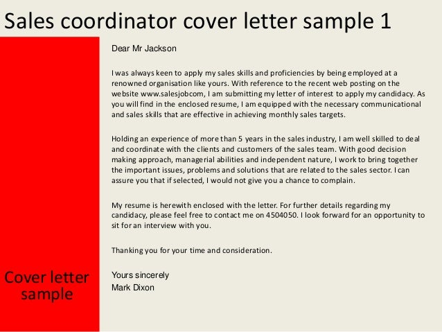 Sales Coordinator Cover Letter Sample ...  Cover Letter Sample Sales
