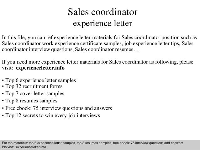 Sales coordinator experience letter sales coordinator experience letter in this file you can ref experience letter materials for sales experience letter sample yelopaper Gallery