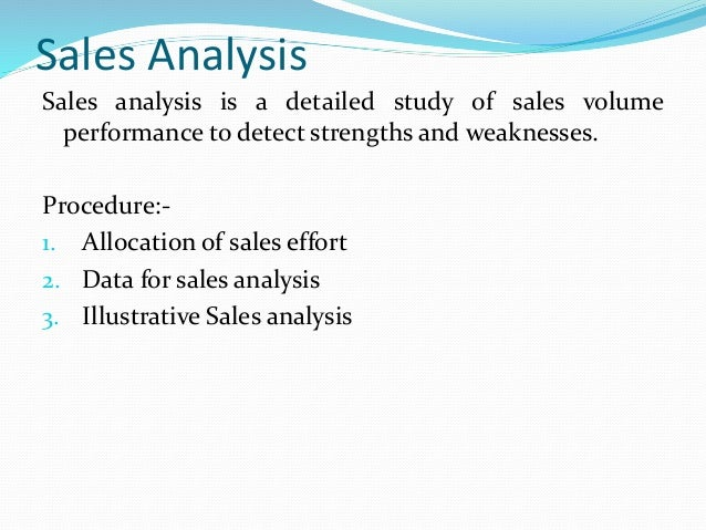 Sales Cost And Cost Analysis