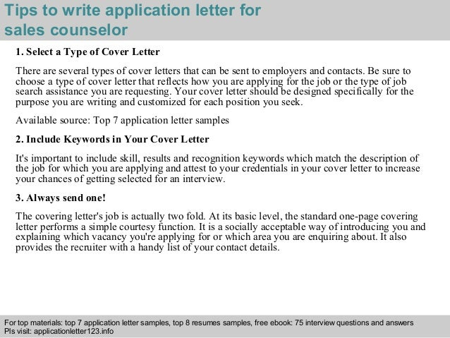 Sales counselor application letter