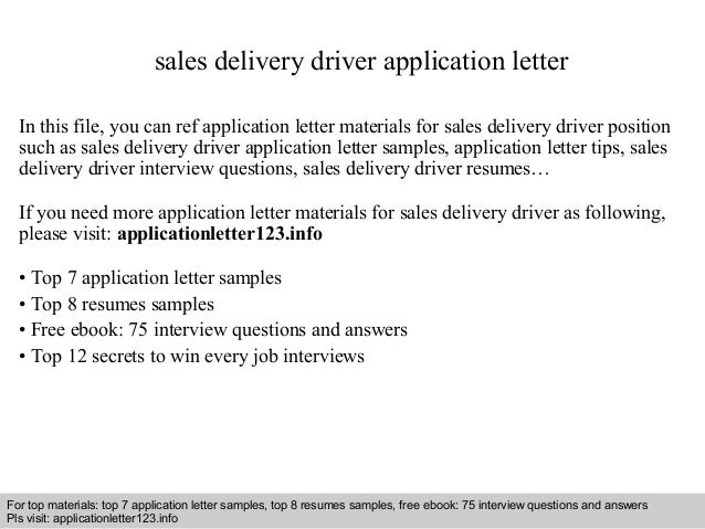 Superb Sales Delivery Driver Application Letter In This File, You Can Ref Application  Letter Materials For ...